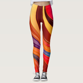 Abstract Background Multi Color Whirl Leggings