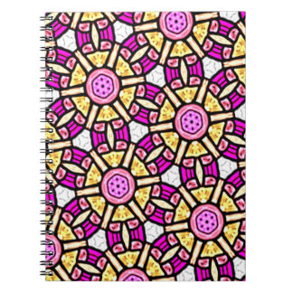 Abstract Background Purple And Gold Stained Glass Notebooks
