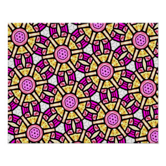 Abstract Background Purple And Gold Stained Glass Poster