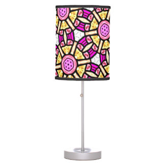 Abstract Background Purple And Gold Stained Glass Table Lamp