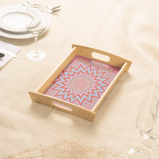 Abstract Background Red And Pink Concentric Stars Serving Tray