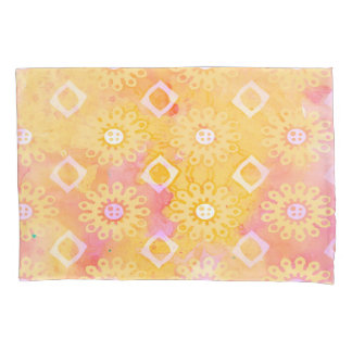 Abstract Background Yellow White & Pink Watercolor Pillowcase