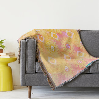 Abstract Background Yellow White & Pink Watercolor Throw Blanket