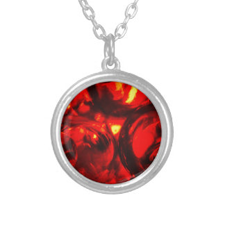 Abstract balls of gel silver plated necklace