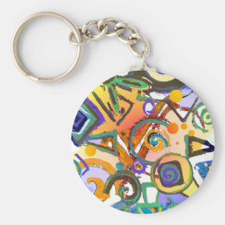 Abstract Basic Round Button Keychain