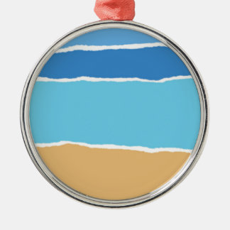 Abstract beach, sea and sky Silver-Colored round ornament