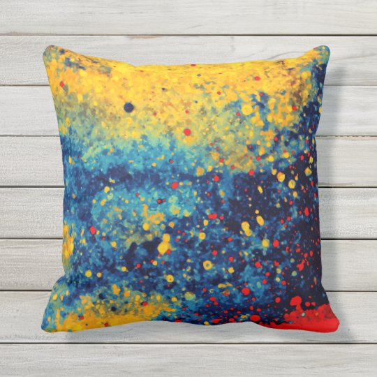 Abstract Beach Summer Holiday Paint Splatter Art Throw Pillow