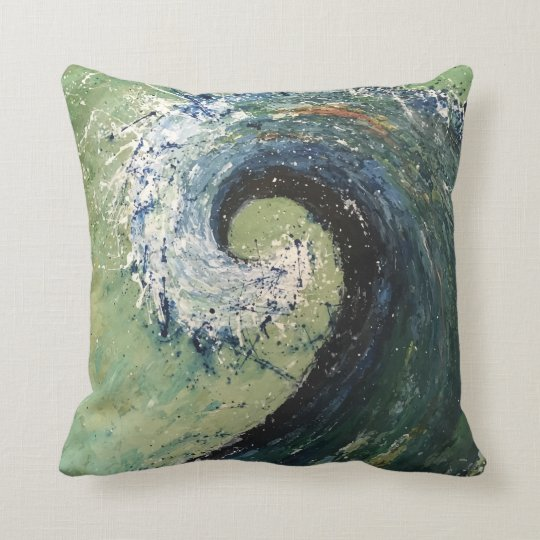 Abstract Beach Wave Fine Art Throw Pillow
