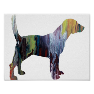 Abstract Beagle Silhouette Poster
