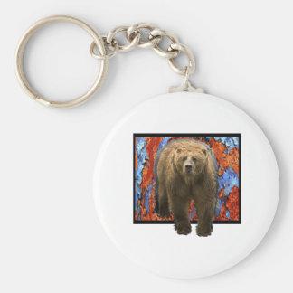 Abstract Bear Basic Round Button Keychain