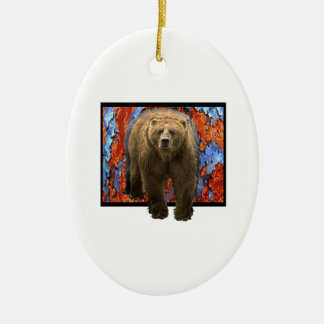 Abstract Bear Ceramic Ornament