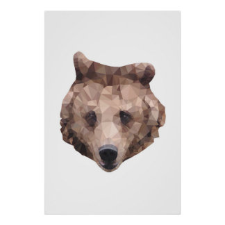 Abstract bear print. Modern art. Animal polygon Poster