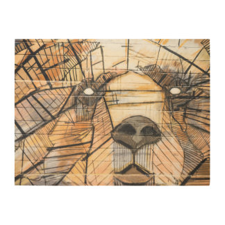 Abstract Bear | Wood Panel Wall Art