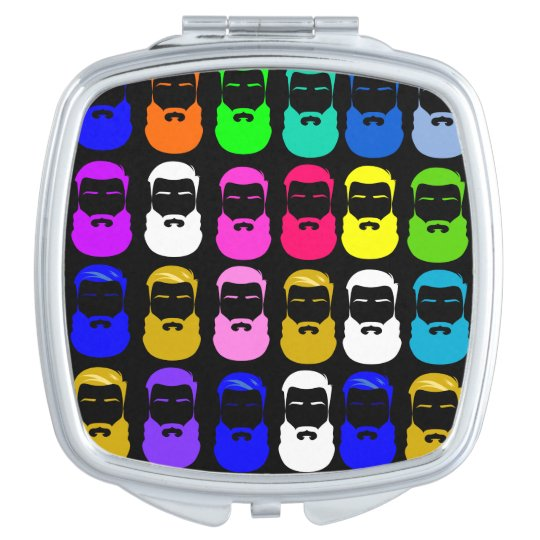 Abstract Beards Square Compact Mirror