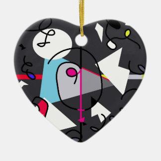Abstract bird ceramic heart ornament