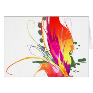 Abstract Bird of Paradise Paint Splatters Card