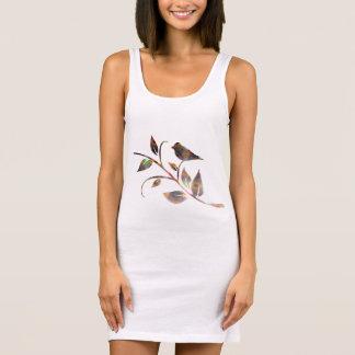 Abstract bird on a branch sleeveless dress