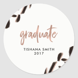 Abstract Black and Faux Rose Gold Graduation Round Sticker