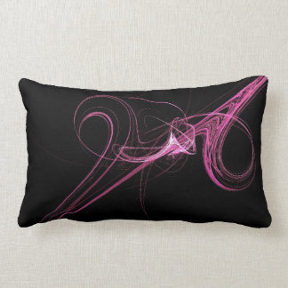 Abstract Black and Hot Pink Fractal Pillow