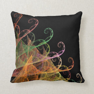 Abstract Black and Multi-Colored Fractal Pillow