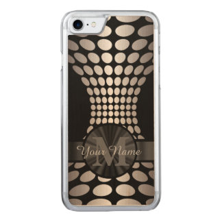 Abstract black and silver pattern monogrammed carved iPhone 7 case