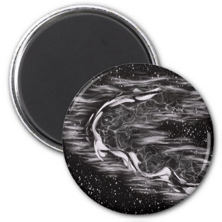 Abstract Black and White 2 Inch Round Magnet