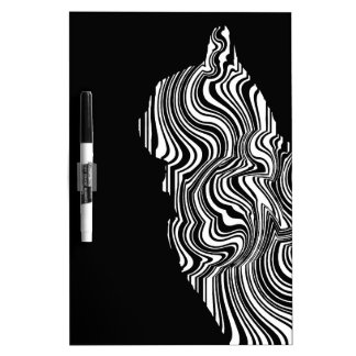 Abstract Black and White Cat Swirl monochrome one Dry-Erase Whiteboard