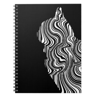 Abstract Black and White Cat Swirl monochrome one Note Books