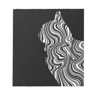 Abstract Black and White Cat Swirl monochrome one Notepads