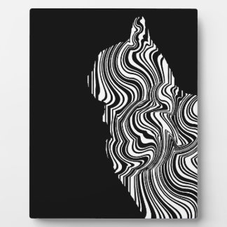Abstract Black and White Cat Swirl monochrome one Plaque