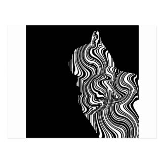 Abstract Black and White Cat Swirl monochrome one Postcard