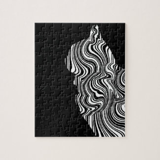 Abstract Black and White Cat Swirl monochrome one Puzzle