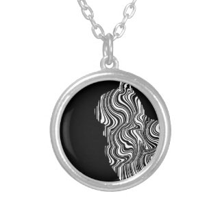 Abstract Black and White Cat Swirl monochrome one Silver Plated Necklace