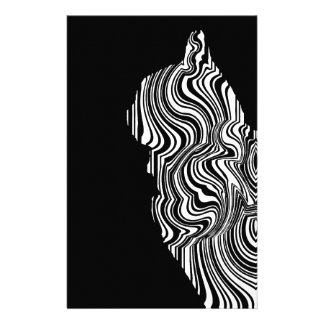 Abstract Black and White Cat Swirl monochrome one Stationery Design