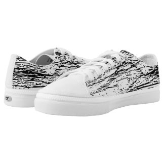 Abstract Black and White Graphic Print Low-Top Sneakers