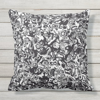 Abstract black and white pattern throw pillow
