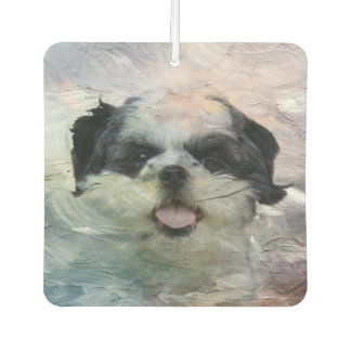 Abstract black and white Shih Tzu Air Freshener