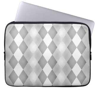 Abstract Black and White Square Pattern Laptop Sleeves