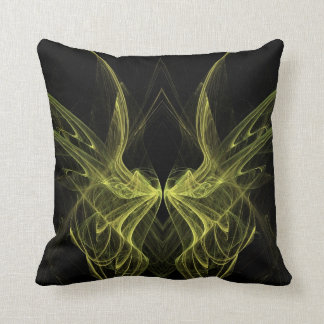 Abstract Black and Yellow Fractal Pillow