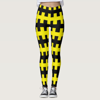 Abstract Black and Yellow Leggings