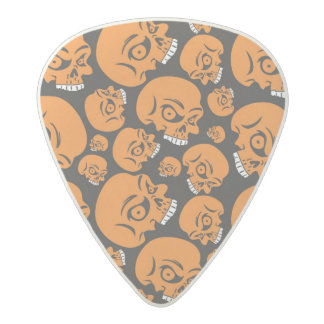 Abstract black background with skulls acetal guitar pick
