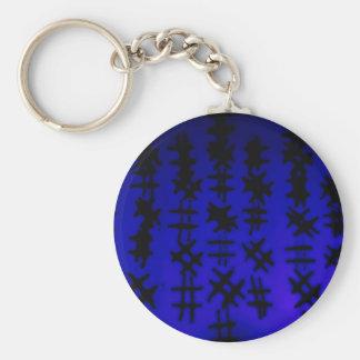 Abstract Black/Blue Design #6 Basic Round Button Keychain
