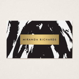 Abstract Black Brushstrokes Business Card