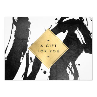 Abstract Black Brushstrokes Faux Gold Gift Card
