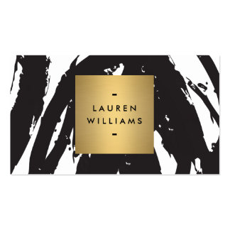 Abstract Black Brushstrokes with Gold Name Logo Business Card