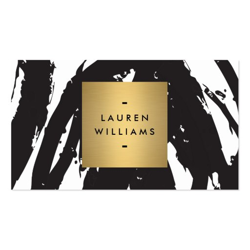 Abstract Black Brushstrokes with Gold Name Logo Business Card Template