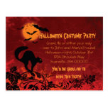 Abstract Black Cat and Bats Halloween Party Invite Post Cards