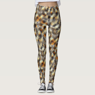 Abstract Black Geometric Mesh Print Leggings