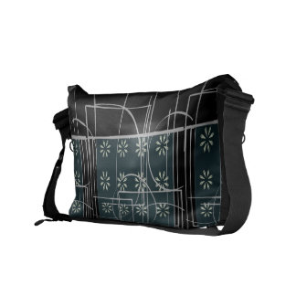 Abstract Black Green and Grey Flower Line Design Messenger Bags