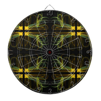 Abstract Black, Green and Yello Fractal Dart Board